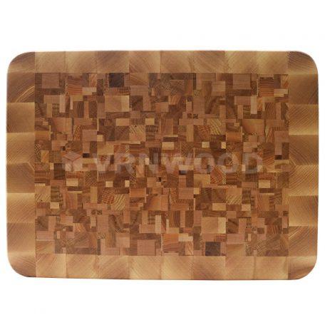 Торцевая разделочная доска с хаотичным рисунком из дуба, клена, ясеня фото 1