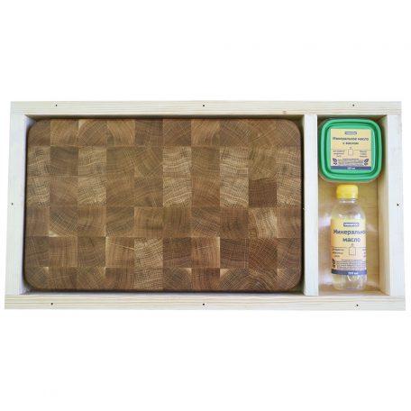 Разделочная доска из дуба 25x40x4, воск, масло, упаковка фото 1