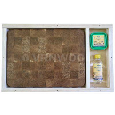Разделочная доска из дуба 30x40x4, воск, масло, упаковка фото 1