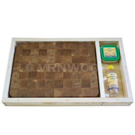Разделочная доска из дуба 30x40x4, воск, масло, упаковка фото 2