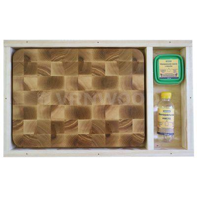 Разделочная доска из ясеня 30x40x4, воск, масло, упаковка фото 1