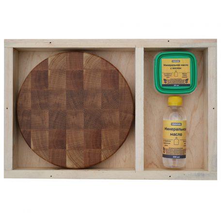 Разделочная доска из дуба 25x25x3, воск, масло, упаковка фото 1
