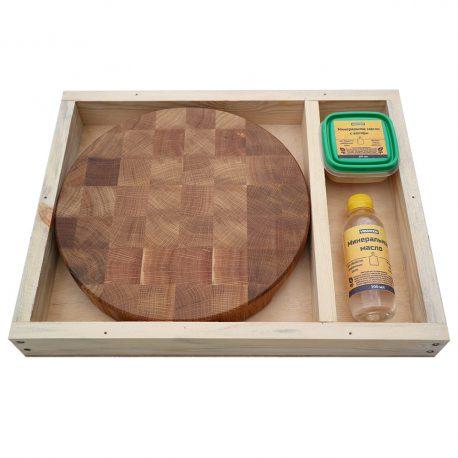 Разделочная доска из дуба 30x30x4, воск, масло, упаковка фото 2