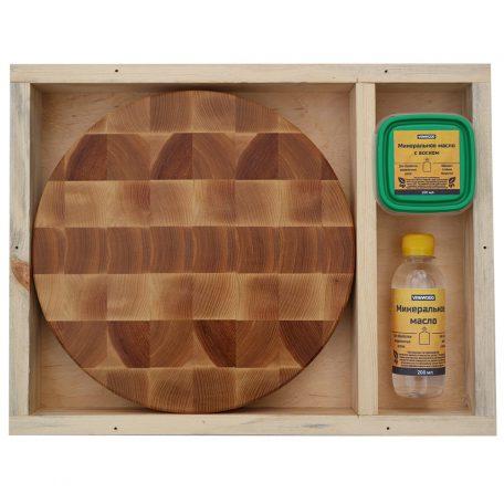 Разделочная доска из ясеня 25x25x3, воск, масло, упаковка фото 1