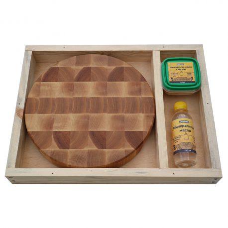 Разделочная доска из ясеня 30x30x4, воск, масло, упаковка фото 2